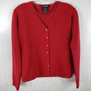 Holt Renfrew Red Cashmere Twinset Cardigan Sweater Women's Small